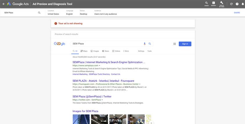 Google Ad Preview and Diagnosis Tool